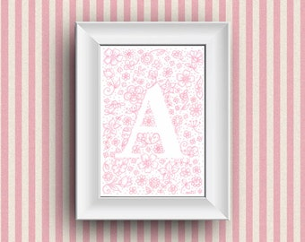Nursery decoration. Gift idea, children bedroom wall decor with custom monogram name ilustration