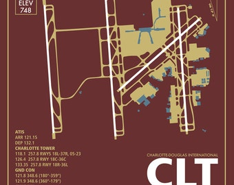 CLT Charlotte-Douglas International Airport North Carolina Travel Infographic Art Print on Paper Variety Colors and Styles Home Office Decor