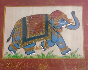 Indian elephant painting on silk with gilding