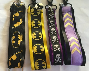 Batman, skull, chevron Key fob with charm.