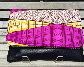Blu Clutch: Pink/Purple Ankara Fabric