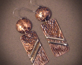 Oblique - Copper & Silver earrings
