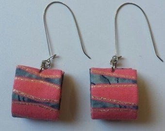 Pink and Denim Patterned Square Earrings