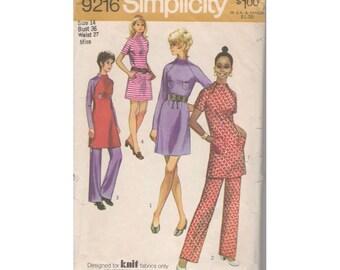 1970s Simplicity 9216 Mini Dress & Pants Vintage Pattern Size 14