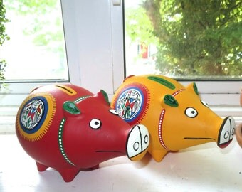 Unique TERRACOTTA hand-made hand-painted piggy bank money box lush red or sunflower yellow - Xmas, Birthday, New baby, home decor