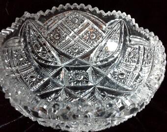 """Small cut crystal bowl, 5.5"""" diameter, 2"""" deep"""