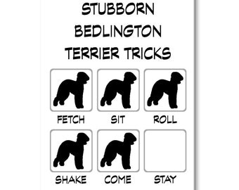 Bedlington Terrier Stubborn Tricks Funny Fridge Magnet