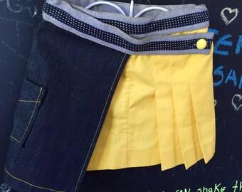 Assimetric black&yellow skirt