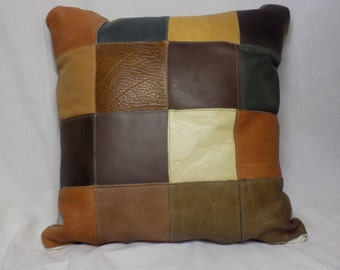 Leather Patchwork Pillow