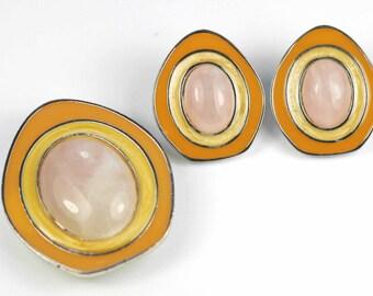 Vintage 1980s Demi Parure Rose Quartz & Enamel Earrings Pendant Brooch Celia Sebiri for Avon