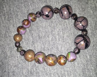 brown multicolored beaded stretch bracelet 7 inches organic look