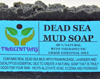 DEAD SEA MUD Soap with Frankincense Essential Oil Activated Charcoal also Lavender and Eucalyptus Essential Oils Made From Coconut Olive Oil