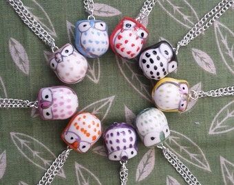 Chubby Owl Ceramic Pendant and Necklace, Single. (Various colours available)