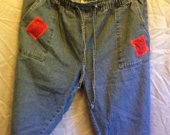 Recycled Ladies Shorts w/quilt square patches