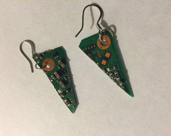 Triangle circuit board earrings