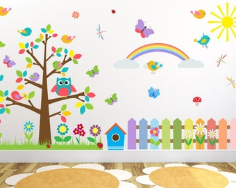 021 wall stickers OWL tree colorful flowers nikima * in 6 verse. Sizes