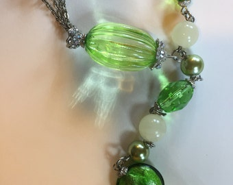 Green Vintage Beaded Necklace