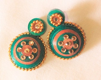 Green Quilled Studs (earrings)