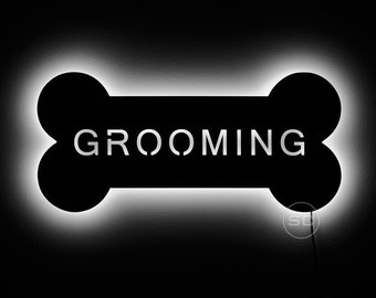 Lighted Grooming Sign for the Doggy Grooming Shop - Dog Bone Shaped Sign and Night Light