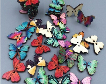 20 pcs. Multi Colored Wooden Butterfly Buttons