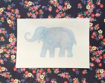 Elephant Silhouette Watercolor