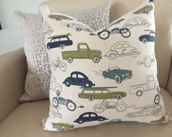 motor cars throw pillow baby boy
