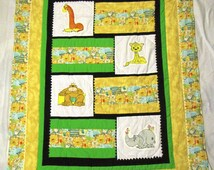 Vintage Precious Moment Handmade Safari Quilt: Beige, Green, and Safari print