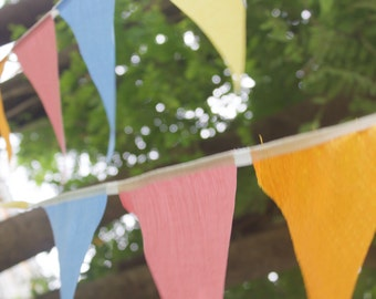 Pastel bunting banner pennant flags garland in  ctton gold and pastel party flags pastel wedding bunting flags cotton pennants long flag