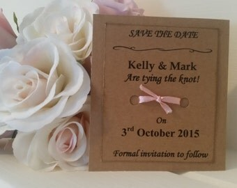 Rustic Save the Date , tie the knot card, lace and ribbon detail, rustic, shabby chic wedding, tying the knot, save the date magnet