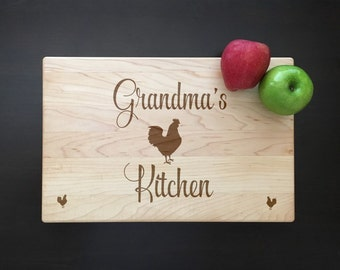 Rooster Cutting Board Gift For Grandmother Rooster Kitchen Decor Engraved Cutting Board Chicken Gift For Her Personalized Cutting Board