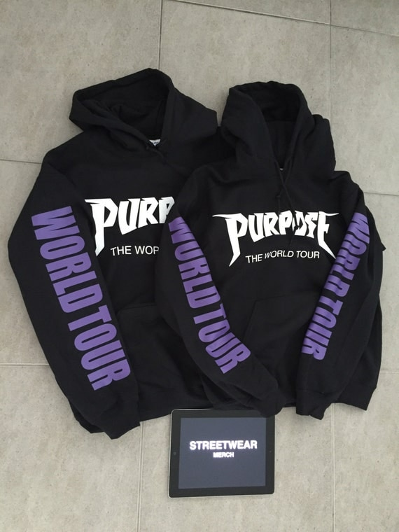 justin bieber purpose tour hoodie purple sleeve. Black Bedroom Furniture Sets. Home Design Ideas