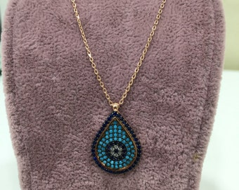 Gold Plated 925 Sterling Silver Necklace With Turquoise and Zircon