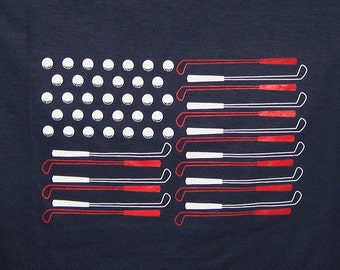 American Flag Golf T-shirt - Navy with Red and White - Patriotic - USA