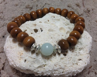 Amazonite and dark wood stretch bracelet with silver accents 4673