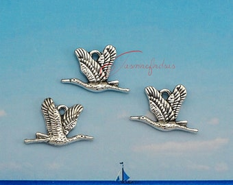 30PCS--21x15mm ,Bird charms, Antique Silver double side Lovely Bird Charm Pendant , DIY supplies,Jewelry Making JAS7689D