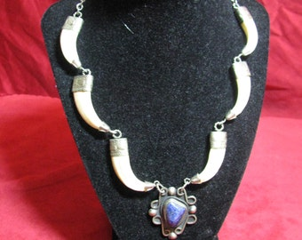 Vintage Claw / Talon Necklace with Blue Stone
