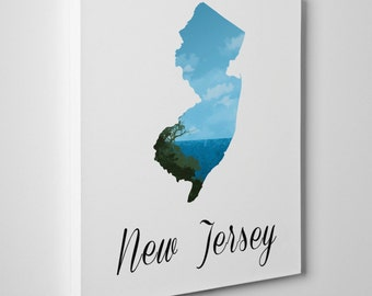 New Jersey Print, New Jersey  Canvas Print, New Jersey Map, State Pride, Home Town, Personalized Art, Wall Decor, New Jersey Art, [2BLENJ]