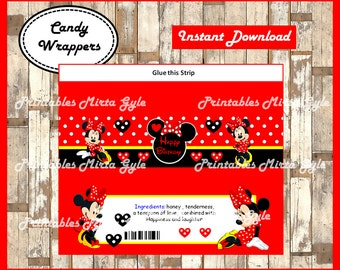 Minnie Mouse candy wrappers, printable Minnie Mouse party candy wrappers, Minnie candy bars
