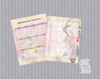 Dream Catcher Full Size Monthly Calendar Planner Insert