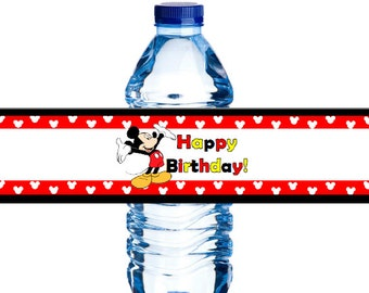 Mickey Mouse Birthday Water Bottle Labels – *Instant Download!*