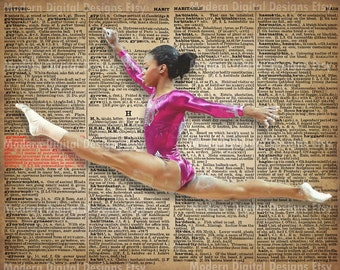 Gabby Douglas Printable Typography Text Art Word Art Motivational Poster, USA Gymnast 5x7 8x10 16x12 INSTANT DOWNLOAD