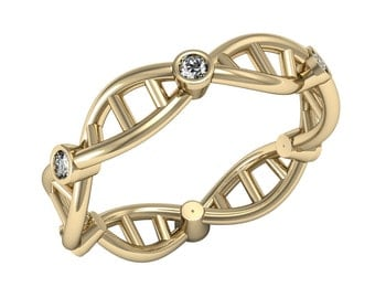 Diamond Dna Ring, 14K Solid Gold Dna Wedding Ring, Diamond Wedding Ring, Science Ring, Dainty Dna Ring, Molecule Ring, Biology Ring