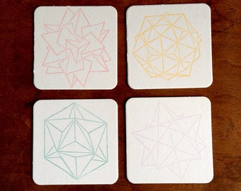 Letterpress Coasters • Geometric Design • Set of 8 Polyhedra Themed Drink Coasters