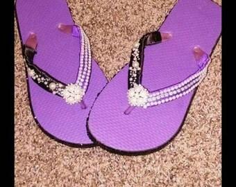 Purple and Black Custom Flip Flops