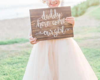 "Personalized Custom Wood Sign | ""Here comes our girl"" 