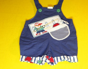 Vintage Toddler Boys Fishing Overalls, Removable Fish on String, 12 months