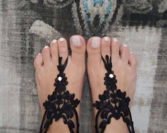 Bridal barefoot Lace Sandals for wedding - Black & Elegant