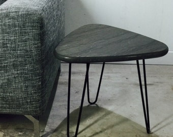 Table granite legs pinhead Mid Century style Hairpin legacy by workshop Bussière shop active