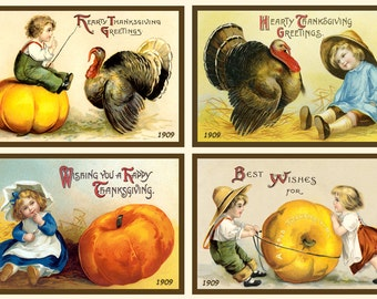 Ellen Clapsaddle Thanksgiving Quilt Blocks #1 - Set of 4
