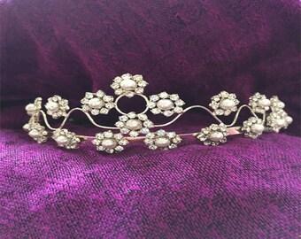 Vintage Pearl and Rhinestone Flower Tiara